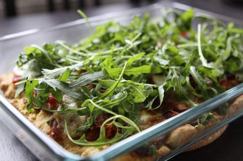 Rucola-Pizza (mit grünem Spargel)