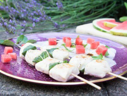 Spieße zu Bierrettich-Salat mit Wassermelone