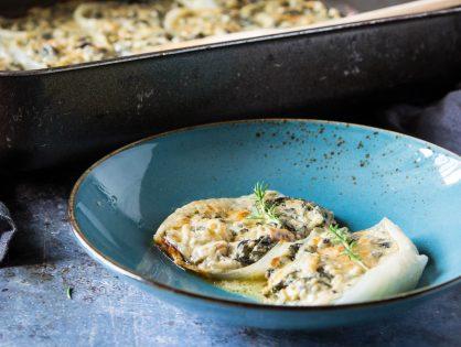 Gemüsezwiebel-Muscheln gefüllt